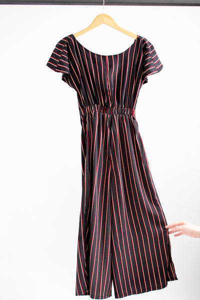 Johanna Jumpsuit - Black/Red Stripe - S