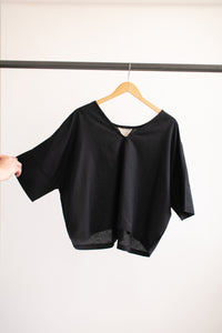 Bailey Boxy Top - Black Linen