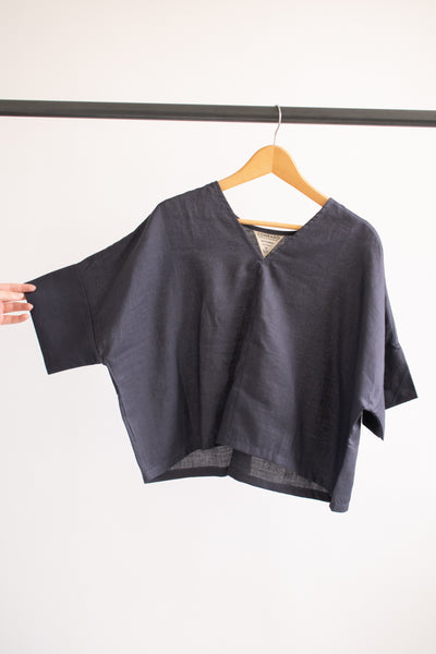 Bailey Boxy Top - Grey Linen - S/M