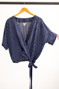Catherine Top - Blue/Black Stripe