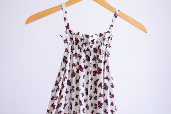 Riley Trapeze Dress - White/Red Floral