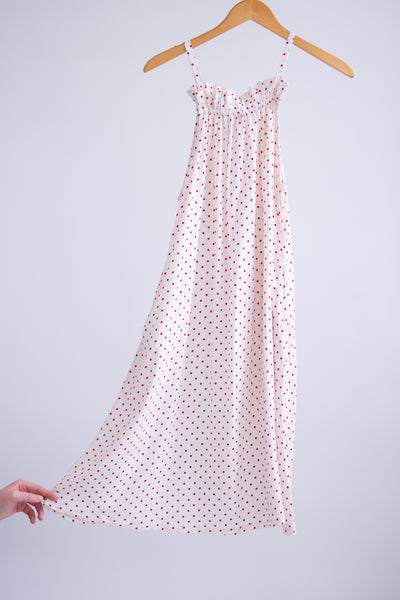 Riley Trapeze Dress - White/Red Dots