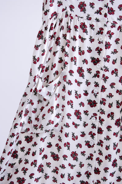 Elysha Button-front Dress - White/Red Floral