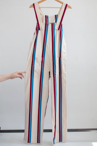 Nora Bib Overalls - Red/White/Blue Stripe - XS/S