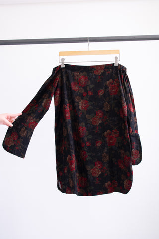 Vivian Dress - Black/Red Roses - M/L