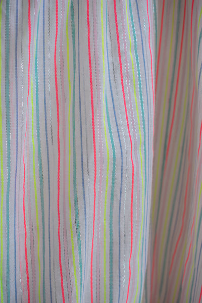 Paula Tiered Cover-Up Maxi Dress - White/Neon Stripe