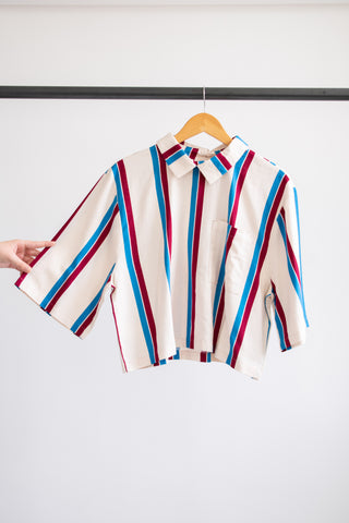 Ronnie Boxy Collared Top - Red/Cream/Blue Stripe