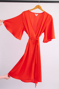 April Dress - Red Orange Silk