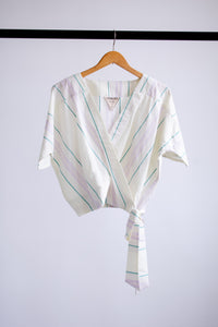 Catherine Surplice Top - Cream Stripe - XS