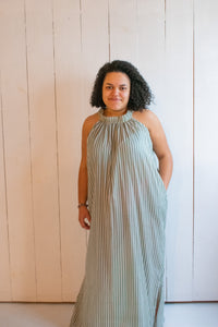 Conrado Chloe Beach Dress Green Stripe