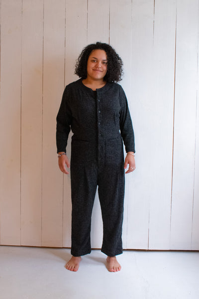 Emily Ribbed Sweater Coveralls - Dark Grey