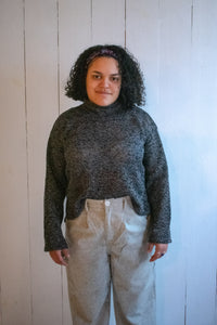 Ena Turtle Neck Cropped Wide Sleeve Sweater - Black/Gray Marled