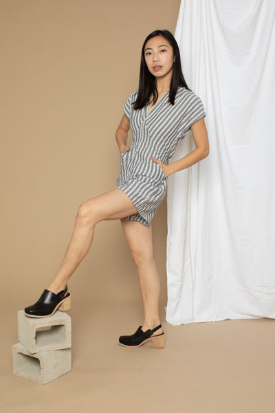 Julia Romper - Grey Stripe