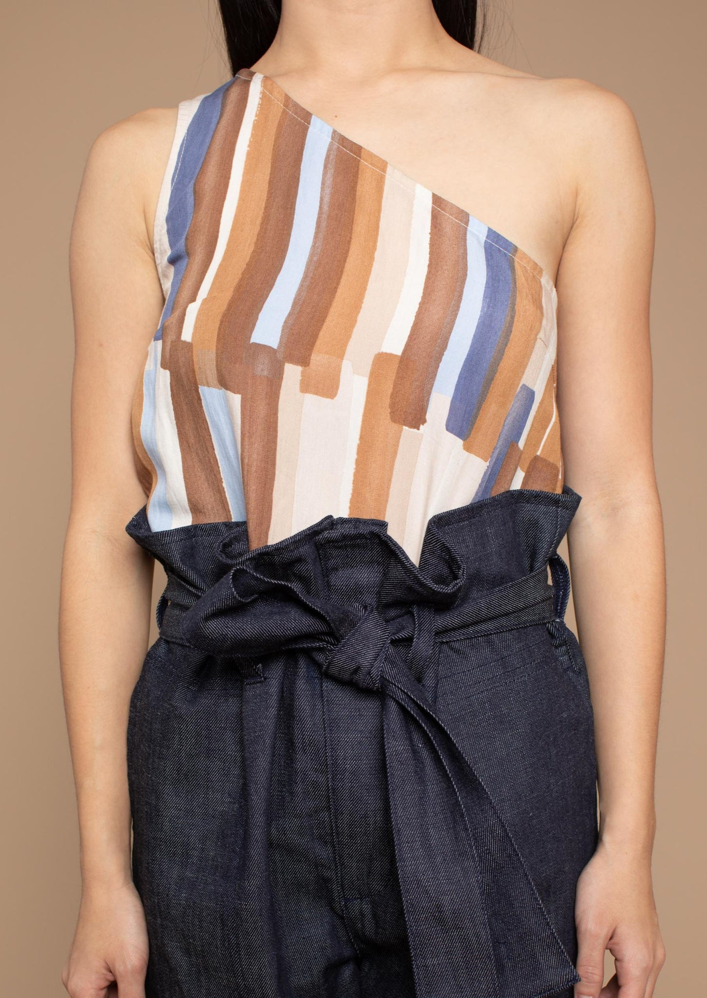 Aretha One Shoulder Top - Brown/Blue Print
