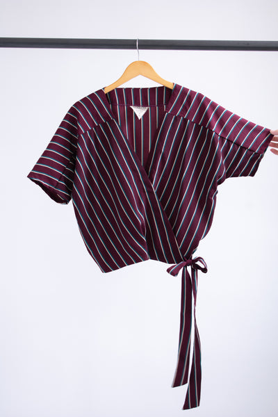 Catherine Surplice Top - Burgundy Stripe