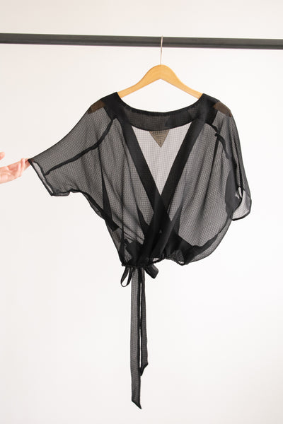 Catherine Surplice Top - Black Textured Chiffon