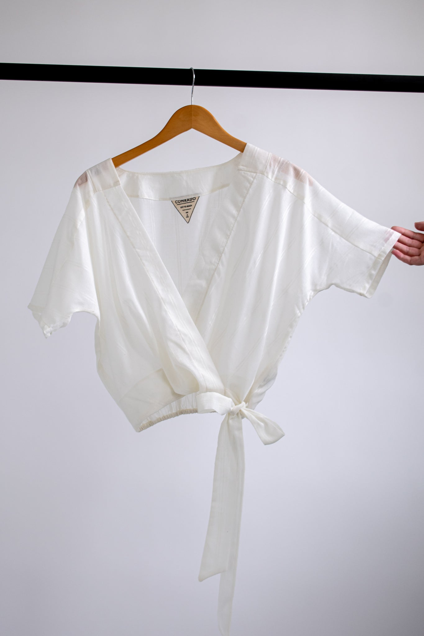 Catherine Surplice Top - White on White Stripe