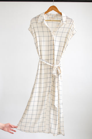 Danielle Shirt Dress - White/Navy Windowpane