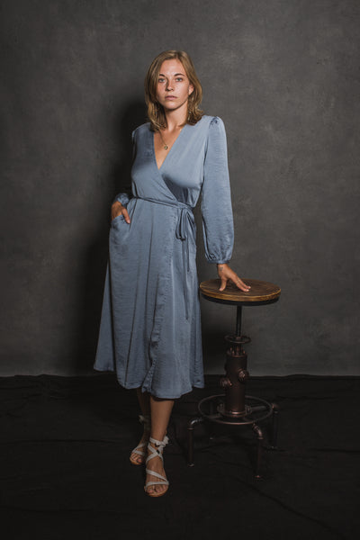 May Long Sleeve Wrap Dress