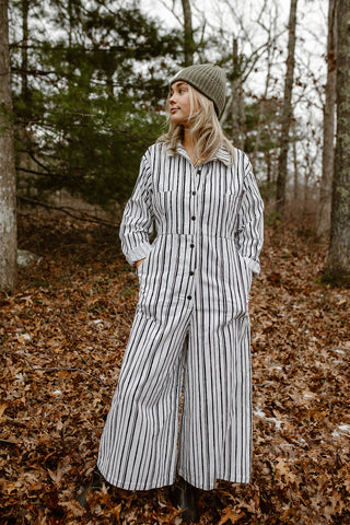 Willie Longsleeve Coveralls - Corduroy Black/White Stripe