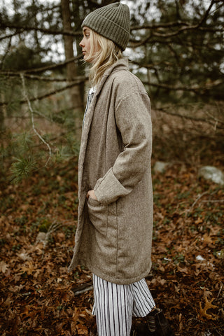 Noa Duster Jacket - Linen/Wool Tan