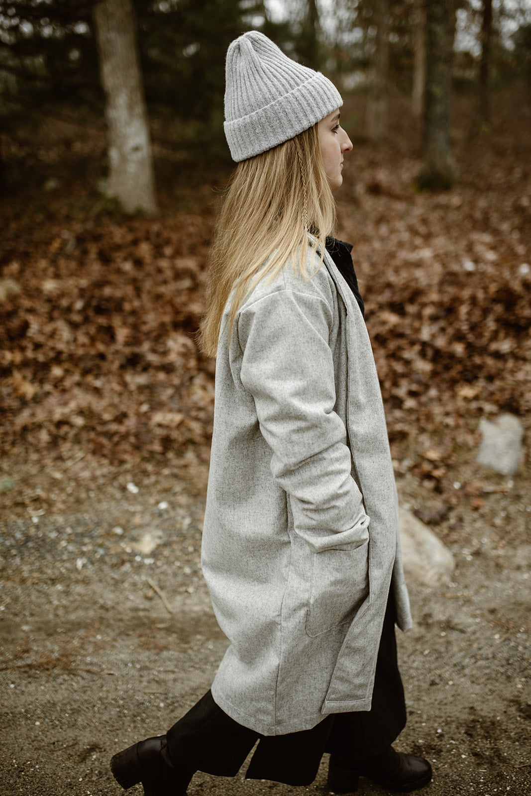 Noa Wool Duster Jacket - Light Grey