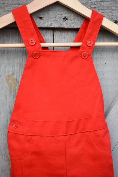 Lily Overalls Red Canvas for Toddlers