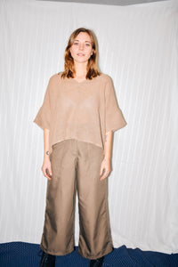 Bailey Boxy Top - Tan Linen