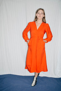 May Long Sleeve Wrap Dress - Red Orange - L