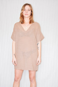 Bailey Tunic Dress - Tan Linen