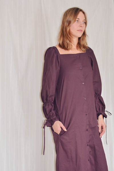 Allegra Puff Sleeve Dress - Merlot