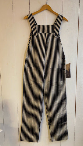 Nora Bib Overalls - Black/Cream Stripe