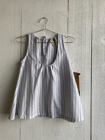 Dolores Gathered Top - White with Navy Stripe (no binding)
