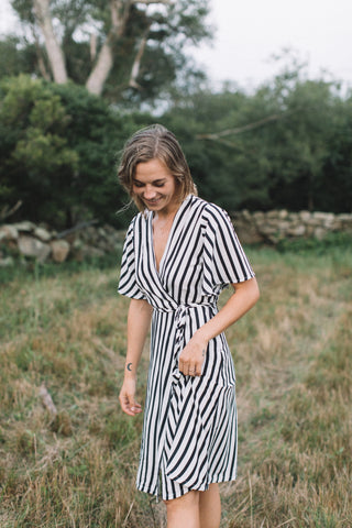 April Flounce Sleeve Wrap Dress (Pre-order)