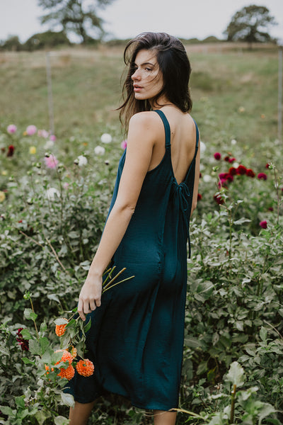 Lisa Low Back Dress - Emerald