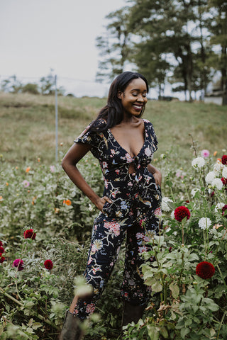 Johanna Jumpsuit - Black Floral - S (no zipper)