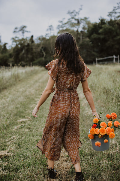 Johanna Jumpsuit - Brown Dots