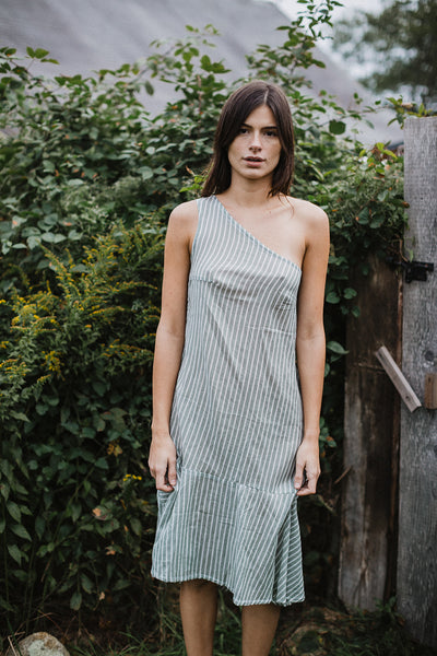 Lara One-Shoulder Midi Dress - Sage Stripe