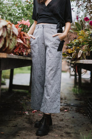 Lindsey Wide Leg Pants - Grey Linen