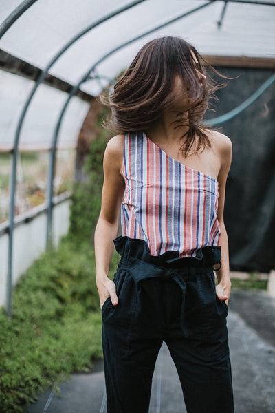 Aretha One-Shoulder Top - Red & Blue Stripe