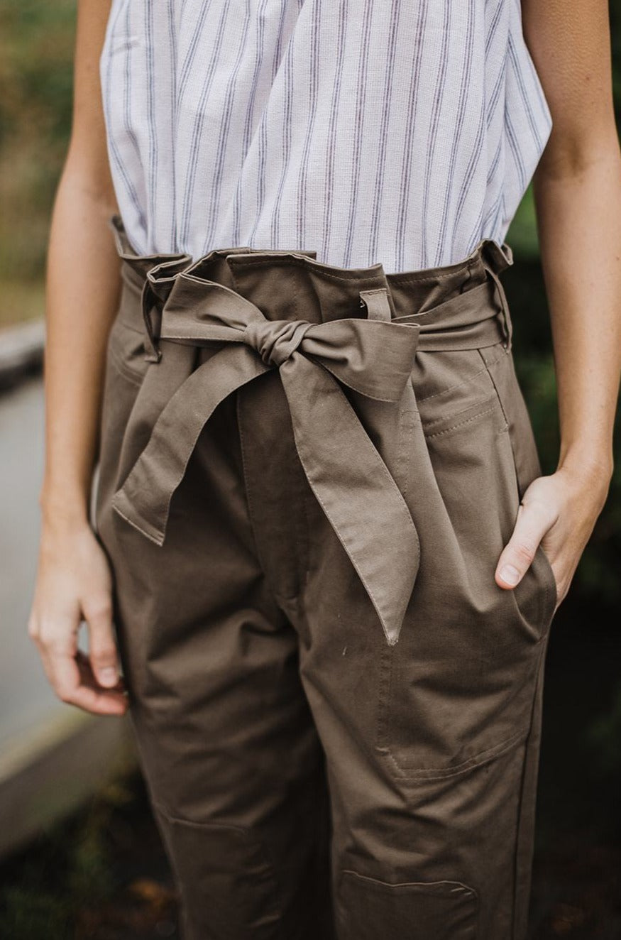 Wren Paperbag Pants - Brown Sateen Cotton