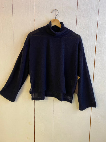 Ena Turtle Neck Cropped Wide Sleeve Sweater - Navy