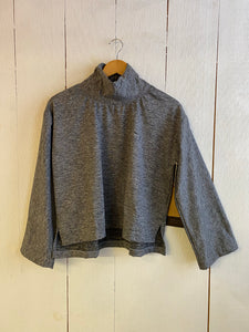 Ena Turtle Neck Cropped Wide Sleeve Sweater - Gray Fleeced