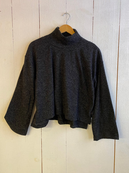 Ena Turtle Neck Cropped Wide Sleeve Sweater - Dark Grey