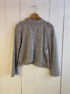 Ena Turtle Neck Cropped Wide Sleeve Sweater - Black/White Marled