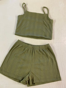 Meadow Ribbed PJ Sets - Green