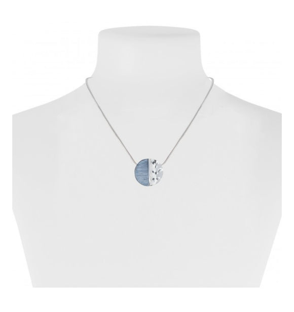 Blue And Silver Medallion Necklace — 1282-BLU