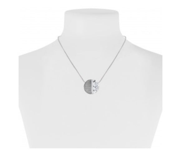 Grey And Silver Medallion Necklace  — 1282-GRY