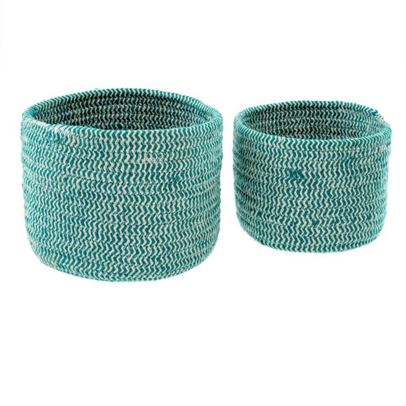 Bakers Twine Basket Round - Turquoise