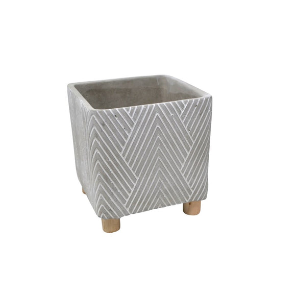 Footed Pot - Chevron Cement